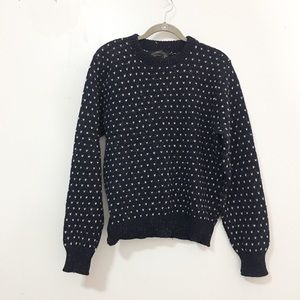 Vintage / wool hearts mix knit sweater